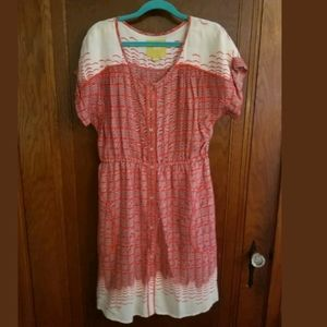 Anthropologie Maeve Red/White Button Down Dress M